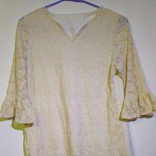 原價400多現賣30元珍珠白淑女上衣----蕾絲邊顯氣質