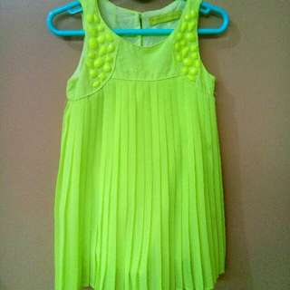 Gingersnaps Pleated Lime Green Top