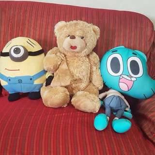 Set of 3 stuffed toys (Bear, Minion, Gumball)