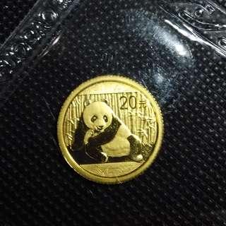 1/20 oz China Panda 999 Gold Coin - 2015