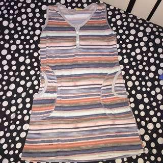 Multicolored-striped Dress