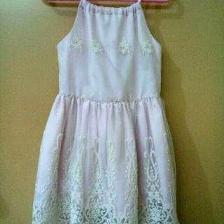 Modern Princess Pastel Pink Lacey Dress