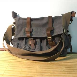 🚚 Canvas Leather Shoulder Bag