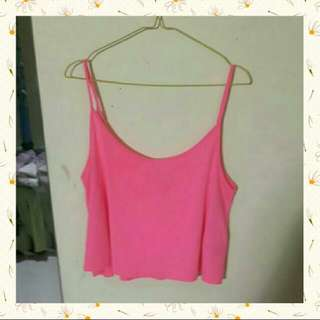 #PayDaySaleJuli H&M Basic Divided Bright Pink Tank Crop Top / Kaos Lengan Buntung Merah Muda Terang