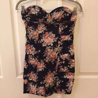 Forever 21 Floral Strapless Dress