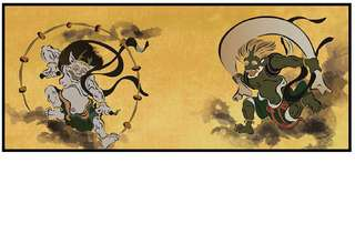 Poster Panel (Art & Animation) Mini Folding Screens Four Songs H120x W270 【Wind God Raid God Figure Tawaraya Den】 FREE SHIPPING FROM JAPAN