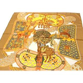 HERMES (Hermes) silk scarf curry ART des STEPPES (step art) Brown series [used]  FREE SHIPPING FROM JAPAN