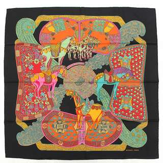 Hermes curry 90 silk scarf ART des STEPPES step art black series multi color secondhand  FREE SHIPPING FROM JAPAN