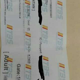 Bus Ticket 3rd Sept 2017. Tiket Bas 3 Sept 2017