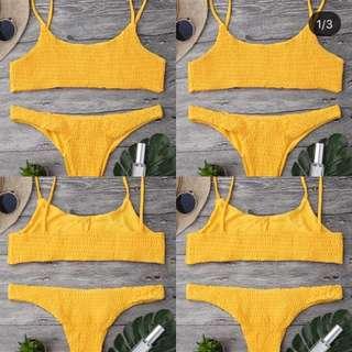 Yellow Ribbed Bikini