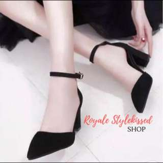 Black Block Pointy Ankle Strap Heels