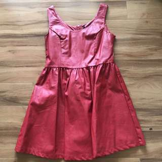 Red faux leather skater dress
