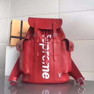 SUPREME X LOUIS VUITTON Christopher Backpack - Red Epi Leather