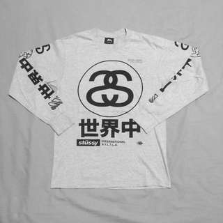 9a5984374be   STUSSY   Grey Graphic Long Sleeve Tee