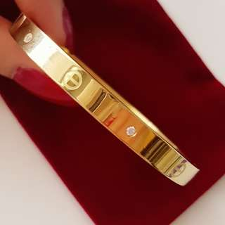 Cartier Gold Love Bangle With Stones Size 16/17