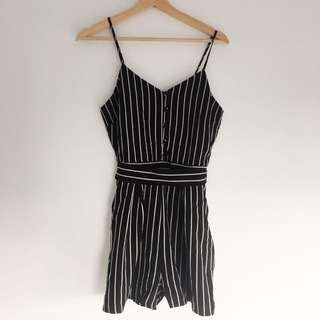 Monochrome striped playsuit