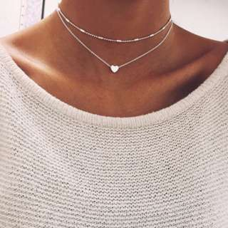Silver layered heart necklace PREORDER