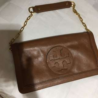 Tory bruch chocolate leather bombe reva clutch shoulder bag