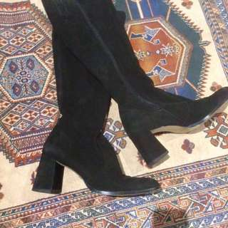 Velvet knee high boot