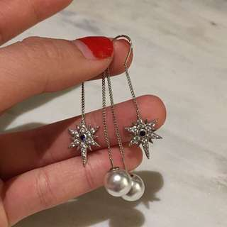 Star Crystal Pearl Dangly Earring