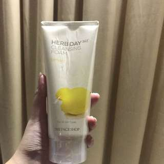 the face shop herb day cleansing foam lemon