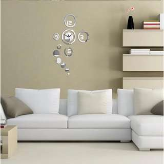 DIY 3D Home Modern Living Room Decor Mirror Sticker Wall Clock Silver Multi-design