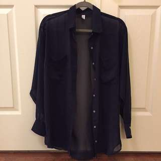 American Apparel Navy Chiffon Button Up