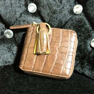 Brown Crocodile Leather Zip Around Wallet With Tassle