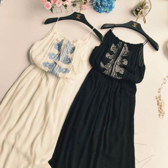 波希米亞風刺繡長洋裝