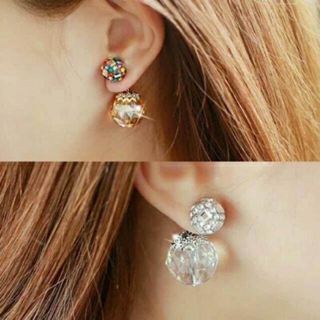 (現貨)韓國現貨不用等代購兩用後掛式炫彩水晶球耳釘耳環水鑽耳飾氣質