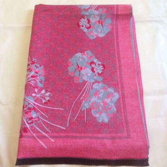 花卉保暖雙面兩用圍巾