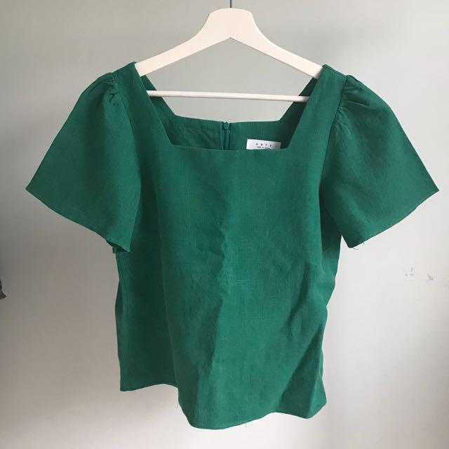 韓版綠色麻質上衣