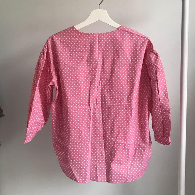 東大門粉紅色波點上衣
