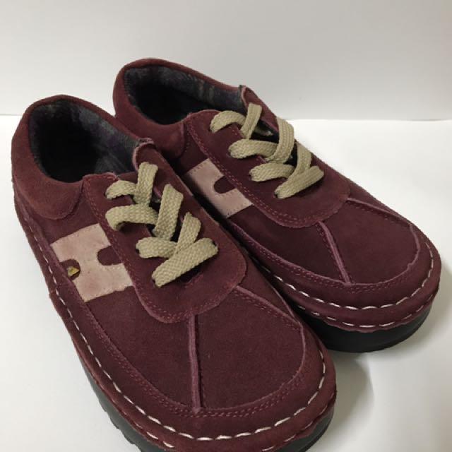 酒紅色復古大頭鞋