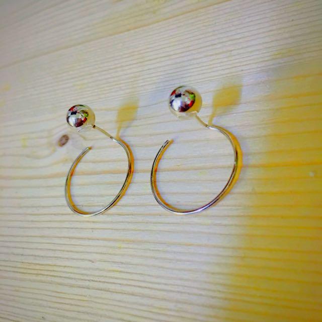 韓國純銀耳環 圈圈耳環