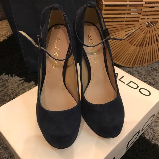 ALDO 全新 深藍麂皮圓頭高跟鞋