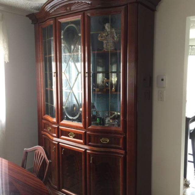 Amazing antique red wood drawers and display with table