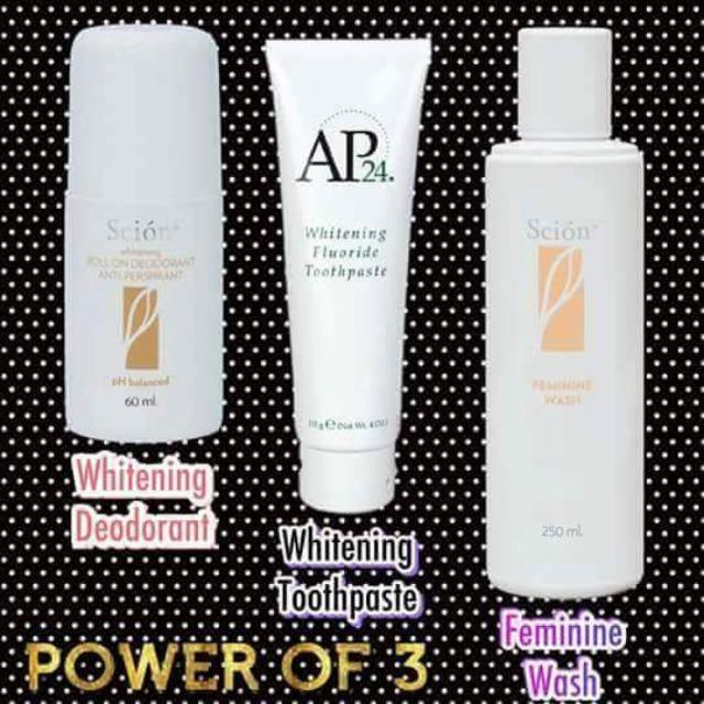 Ap24 toothpaste, Scion whitening deo, Scion fem was 250ml power of 3