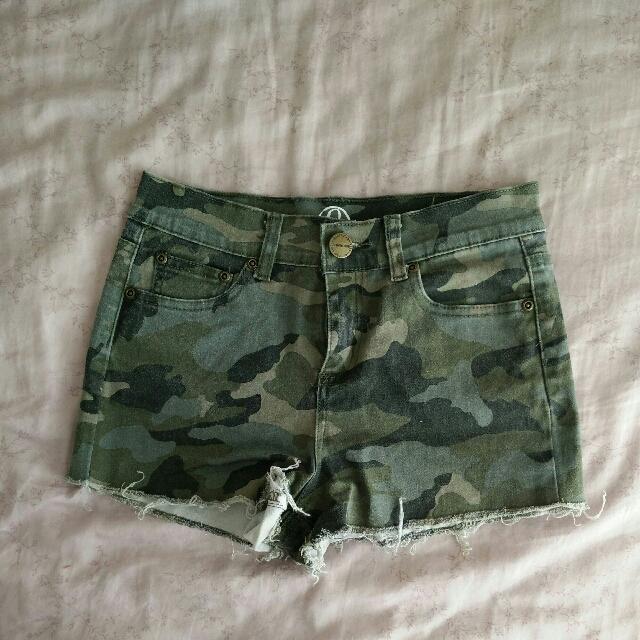 Army denim shorts