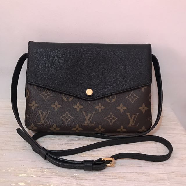 Authentic Louis Vuitton Twinset Clutch Crossbody in Monogram & Black Calf Leather