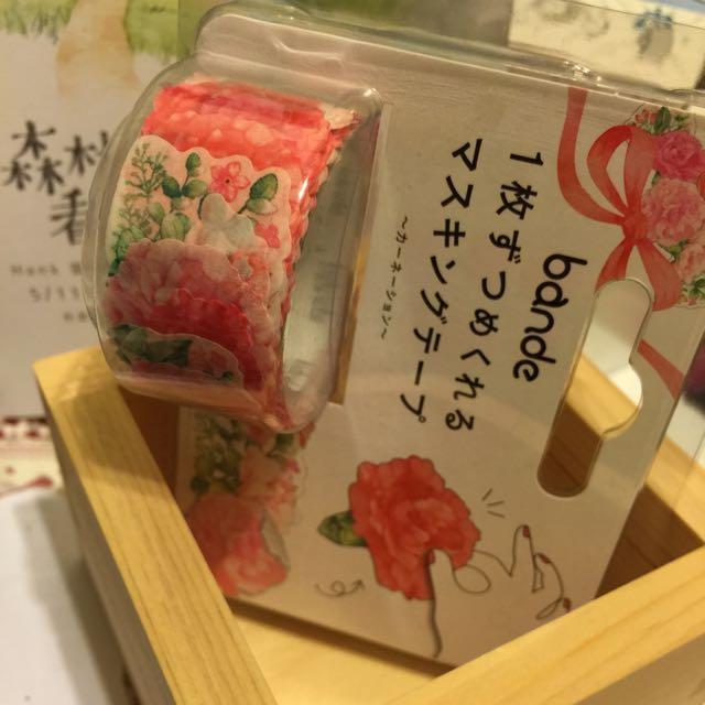 紙膠帶貼紙-bande 康乃馨圖案 全新