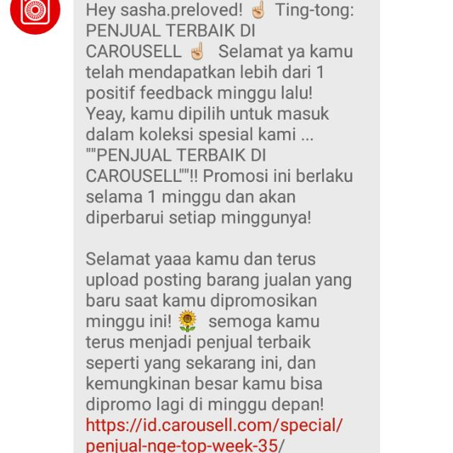 Best Seller 35th Week - Carousell Nomination