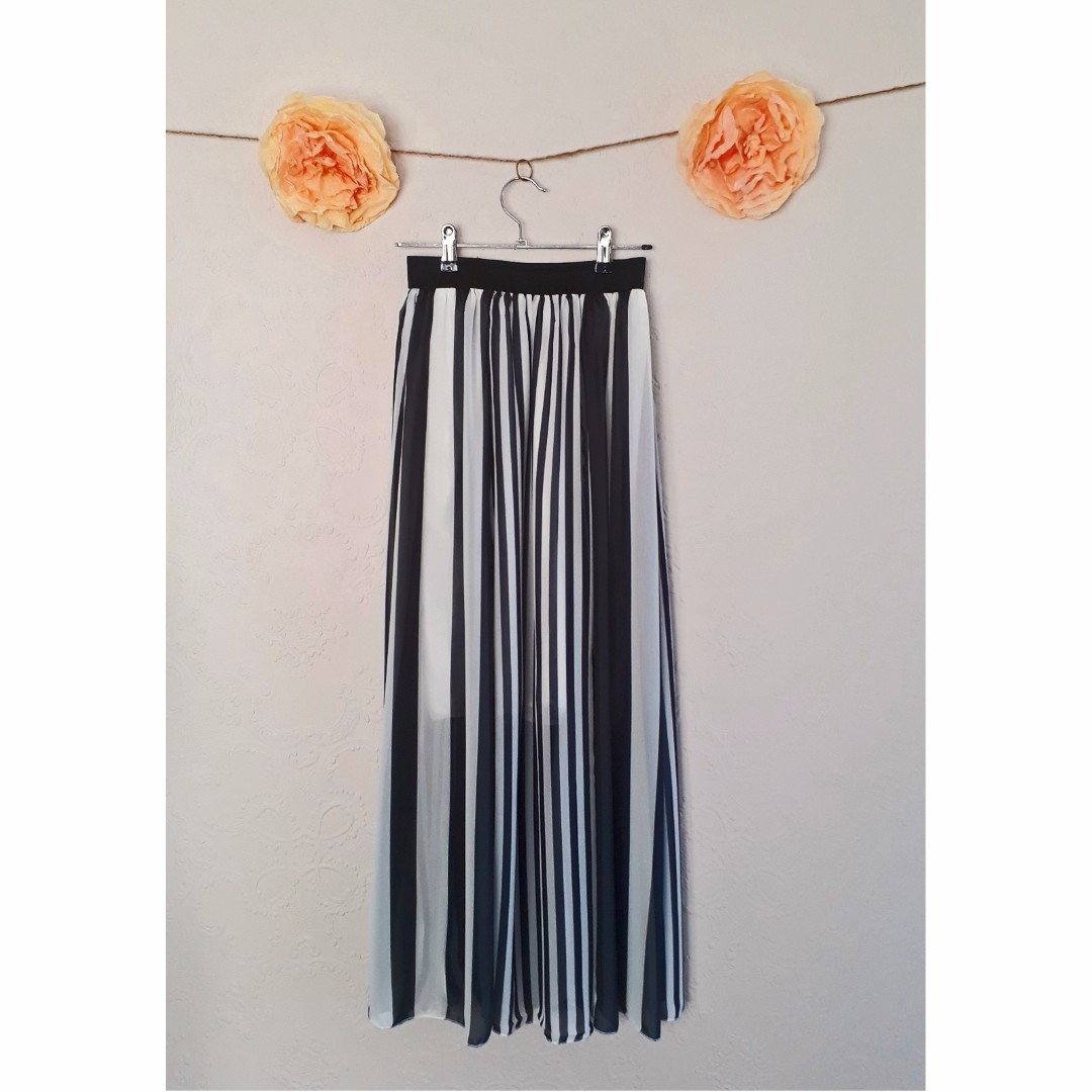Black & White Stripe Chiffon Maxi Skirt