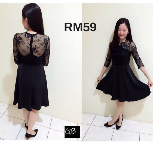 Black Flare Lacey Dress