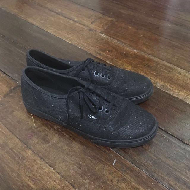 Black glitter vans shoes