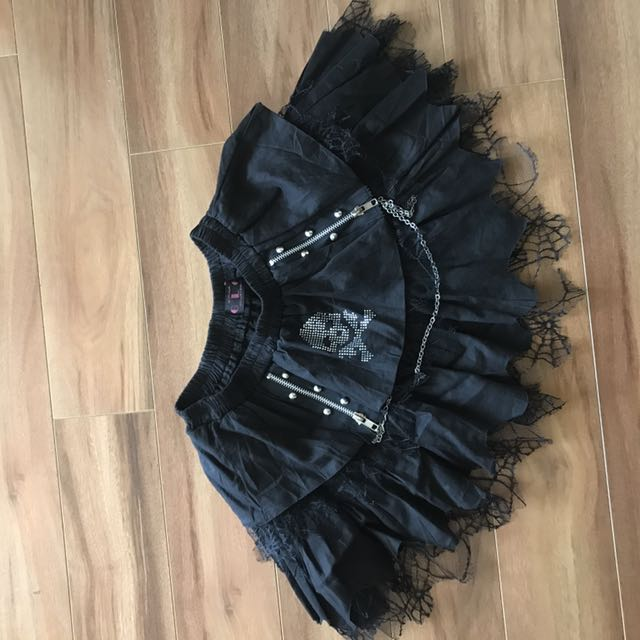 Black skull mini skirt