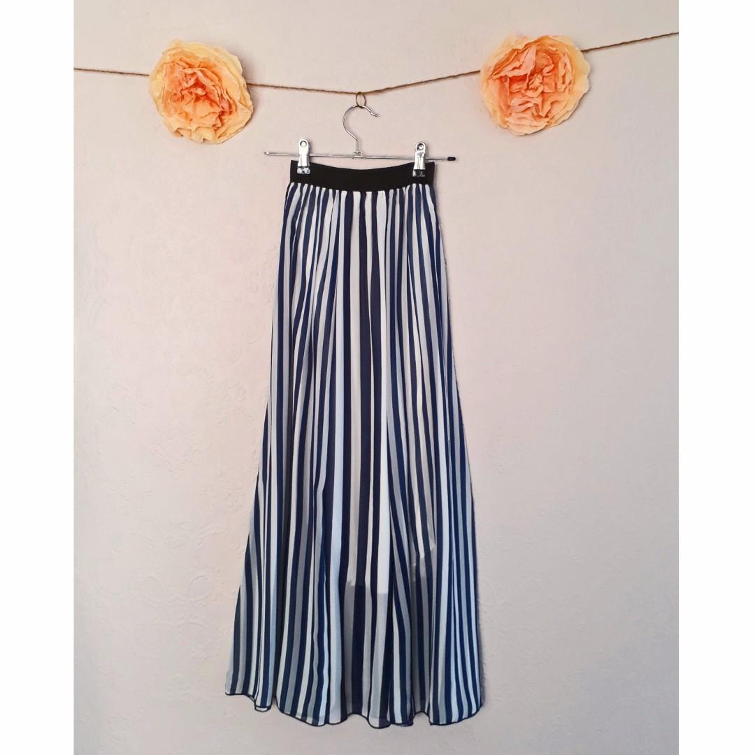 Blue & White Stripe Chiffon Maxi Skirt