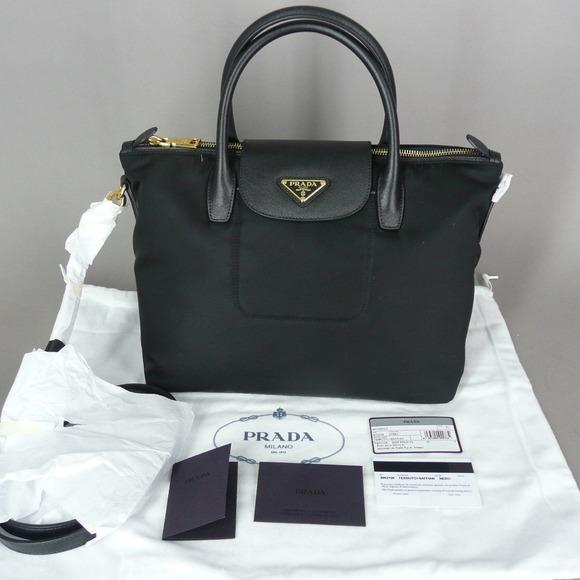 7504eff25a51 ... coupon for bn2106 prada tessuto saffiano leather nero black seasonal  bag100 authentic new womens fashion bags