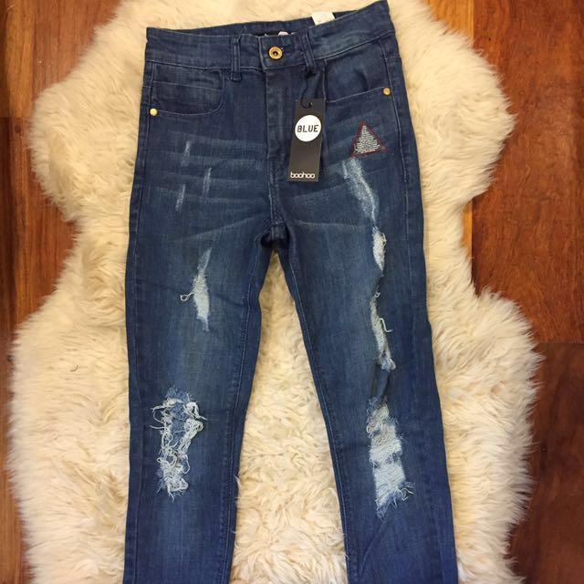 Boohoo Semi High Waisted Jeans