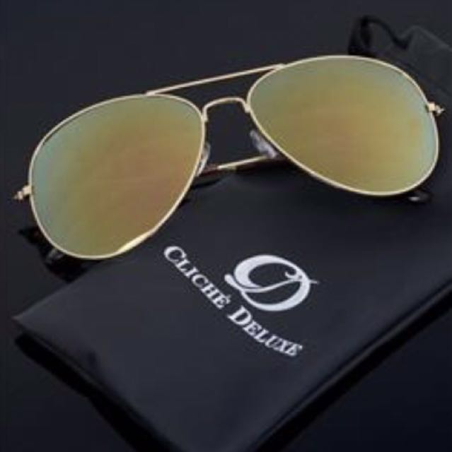 cermin mata hitams : Black-Yellow kanta dengan bingkai emas